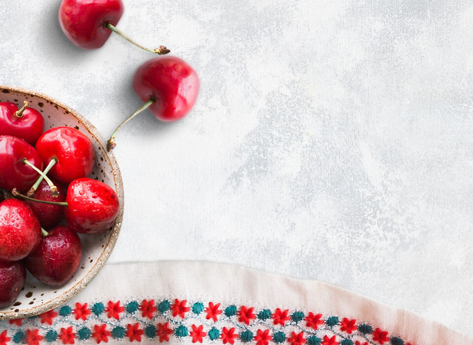 Cherries on countertop