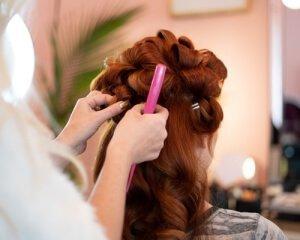 Brushing hair in salon
